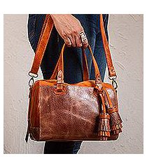 leather travel bag, 'tasseled traveler in orange' (mexico)