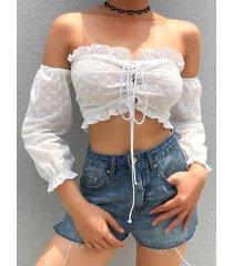 camicetta sexy con fascia cava ricamata con spalle scoperte