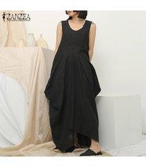 zanzea crew mujeres sin mangas vestido de cuello del verano del algodón holgado vestido maxi largo plus -negro