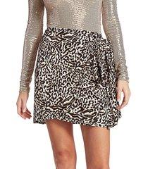 andamane women's camilla leopard print wrap skirt - leopard white - size xs