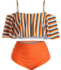 plus size striped ruffle overlay tankini swimsuit