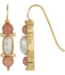 2028 gold-tone imitation pearl and semi precious carnelian drop earrings