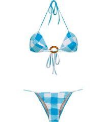 adriana degreas checked bikini set - blue