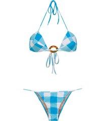 adriana degreas checked bikini set - blue