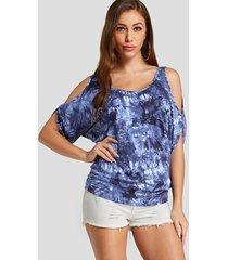 azul con espalda anudada diseño camiseta con hombros descubiertos y teñido anudado