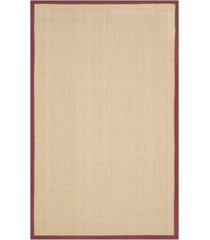 safavieh natural fiber maize and burgundy 4' x 6' sisal weave rug