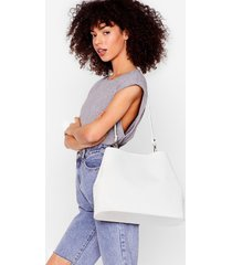 womens want oh croc a feelin' tote bag and pouch set - white