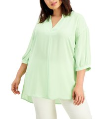 alfani plus size 3/4-sleeve high-low top, created for macy's
