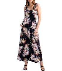 women's leaf print sleeveless pocket maxi dress