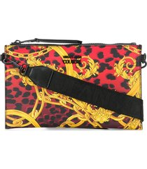 versace jeans couture baroque-print branded clutch bag - red