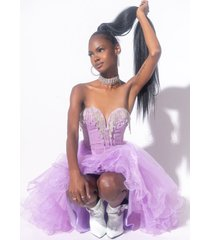 akira one and only tulle high low dress with rhinestone top