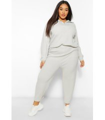 plus zip polo sweater and jogger lounge set, charcoal