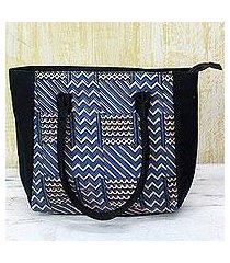 batik cotton tote handbag, 'azure zigzag' (india)
