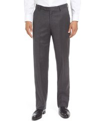 men's berle flat front classic fit solid wool dress pants, size 31 x unhemmed - grey