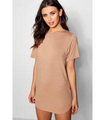 petite t-shirtjurk met ronde zoom, kameel