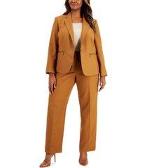 le suit plus size tonal stripe zip-pocket pantsuit