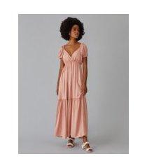 amaro feminino vestido longo com manga bufante e recorte, rosa claro