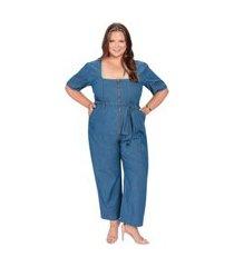 macacão plus size zíper jeans azul