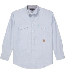 tommy hilfiger adaptive men's iconic re-issue classic-fit stretch oxford shirt with magnetic buttons