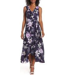 women's vince camuto asymmetrical faux wrap midi dress, size 10 - blue