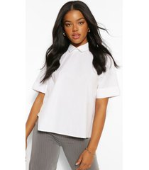 cotton poplin open tie back shirt, white