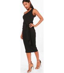 one shoulder belted midi dress, black