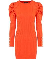jurk met pofmouwen koraal