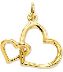 14k gold charm, double heart charm