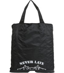 maison margiela black techno fabric and leather foldable mens tote bag
