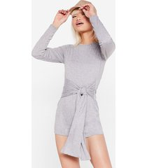 womens take your tie petite lounge romper - grey