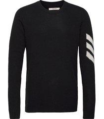 kennedy c arrow sweater cashmere intarsia stickad tröja m. rund krage svart zadig & voltaire