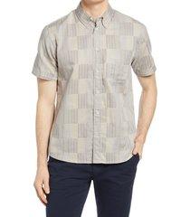 men's billy reid men's tuscumbia standard fit plaid short sleeve button-down shirt, size medium - grey
