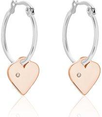 orecchini a cerchio in acciaio bicolore e strass con pendente cuore per donna