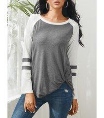 grey stripe round cuello camiseta con dobladillo con nudo y mangas largas