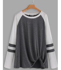 grey stripe round neck long sleeves knot hem t-shirt