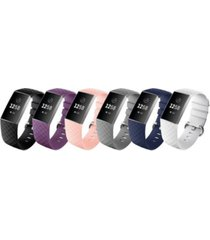 posh tech unisex fitbit versa charge 3 assorted silicone watch replacement bands - pack of 6