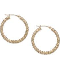 14k gold earrings, diamond cut hoop earrings, 1 1/3 inch
