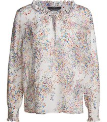 blouse met bloemenprint vera  wit