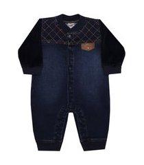 macacão longo plush denim jeans sonho mágico g azul