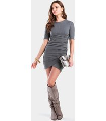 pennly ribbed ruched dress - dark grey
