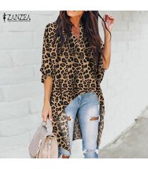 zanzea mujeres flojas ocasionales de media manga cuello en v leopardo tapas de las señoras de la blusa camisas -amarillo