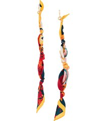 salvatore ferragamo scarf-drop knot earring - gold