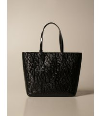 armani exchange tote bags armani exchange shoulder bag in synthetic patent leather with logo