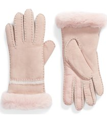 women's ugg seamed touchscreen compatible gloves with genuine shearling trim, size medium - pink