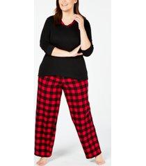 charter club plus size plaid mix it pajama set, created for macy's