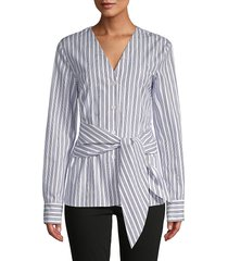tibi women's striped belted cotton top - blue - size 2