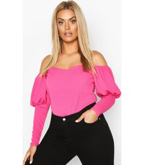 plus off shoulder puff sleeve fitted top, fushia
