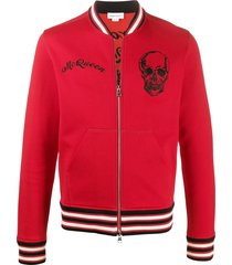 alexander mcqueen embroidered skull bomber jacket - blue
