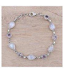 amethyst and rainbow moonstone link bracelet, 'misty lilac' (india)
