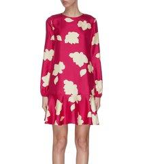 graphic print flared silk dress
